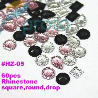 New Kit 60 pieces colors Rhinestone Nail Art Decoration 3D