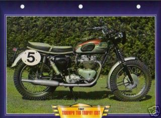 Triumph TR6 TROPHY ISDT 1962 Motorcycle Big Card Photo Classic Vintage