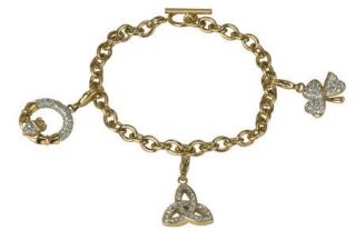CRYSTAL COLLECTION BY TARA   GOLD PLATED CRYSTAL SET CHARM BRACELET