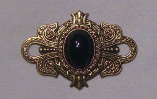 ANTIQUE GOLD BRASS BLACK GLASS BROOCH PIN VICTORIAN GOTHIC EDWARDIAN