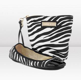 Jimmy Choo  Wiley  Black Zebra Print Nylon Folding Ballerina