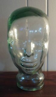 Vintage Blue Green Tint Art Glass Mannequin Head Art Deco Hat Wig