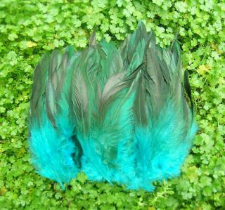 Newly listed Beautiful ! natural 100pcs Deep Blue Rooster feathers 6