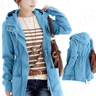 Winter Warm Women Long Cargo Zip Hoodie Basic Coat Jacket Overcoat