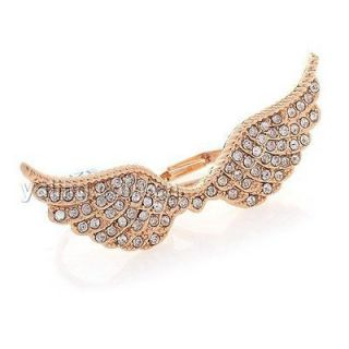 1pcs Gold Plated Two Finger Link Full Rhinestone Women Angel Wing Ring