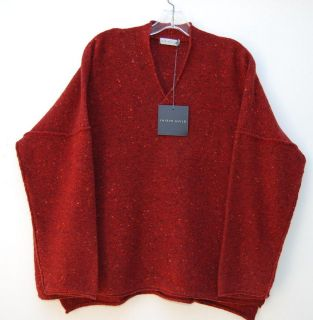 NWT Shirin Guild GRAY 70% Merino 30% Cashmere V Neck Long Sweater O/S