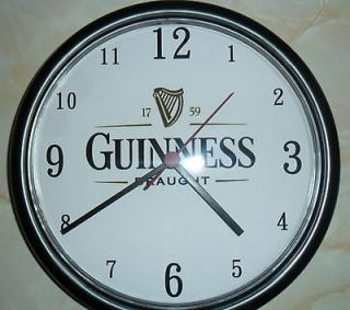 GUINNESS 9.5in diameter PERSONALISED WALL CLOCK ideal birthday gift