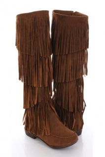 Tan Faux Suede Fringed Moccasin Style Boots @ Amiclubwear Boots