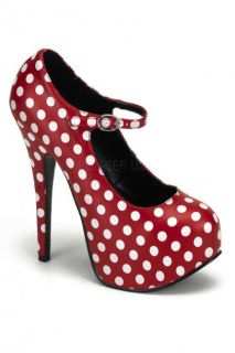 Red White Polka Dots Mary Jane Platform Pumps Heels @ Amiclubwear Heel