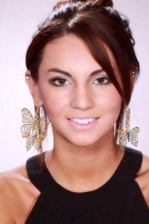 Gold Metal Cutout Filigree Butterfly Hook Earrings @ Amiclubwear