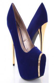 Home / Royal Blue Velvet Metallic Trim Platform Pump Mirrored Heels