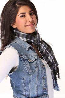 Black Grey Plaid Polyester Scarf @ Amiclubwear scarf Online Store