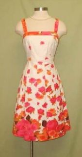 ADRIANNA PAPELL Pink Ivory & Orange Linen Summer Party Dress 12 NWT