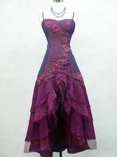 Cherlone Plus Size Satin Dark Purple Lace Ball Gown Wedding/Evening