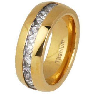 Titanium Princess CZ Band Dome Shiny Top Gold Plated Mens Wedding Ring