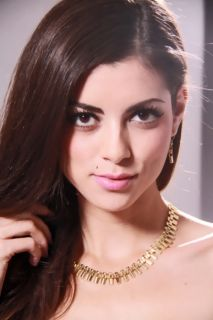 Gold High Polish Metal Chain Design Necklace Set @ Amiclubwear Earring