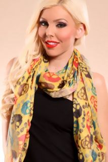 MUSTARD MULTI SKULL FACE PRINTED SHEER SCARF @ Amiclubwear scarf