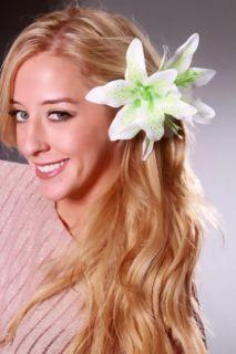 Green Gradient Printed Tropical Flower Hair Clip @ Amiclubwear Girls
