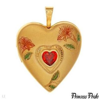 PRINCESS PRIDE NEW HEART LOCKET PENDANT FIRE CZ GOLD PLATED 25mm