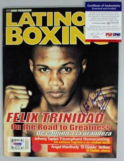 FELIX TRINIDAD AUTHENTIC SIGNED 1998 BOXING WORLD MAGAZINE PSA/DNA #