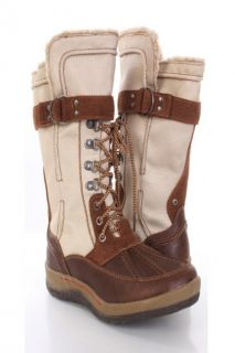 Brown Faux Shearing Canvas Lace Up Combat Boots @ Amiclubwear Boots