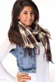 Brown Beige Plaid Polyester Scarf @ Amiclubwear scarf Online Store