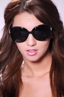 Black Large Plastic Frame UV Protected Sunglasses @ Amiclubwear