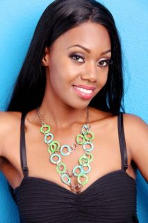 GREEN TEAL CHAIN LINK COLORBLOCK NECKLACE @ Amiclubwear Necklace