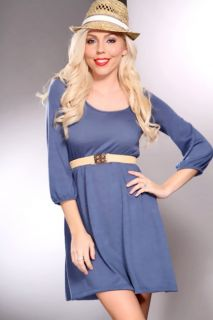 Home / Slate Blue Scoop Neck Quarter Sleeves Stylish Sweater Dress