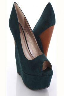 Green Faux Suede Peep Toe Faux Wooden Cut Out Wedges @ Amiclubwear