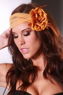 Orange Shimmer Fabric Petal Feathered Flower Hair Clip @ Amiclubwear