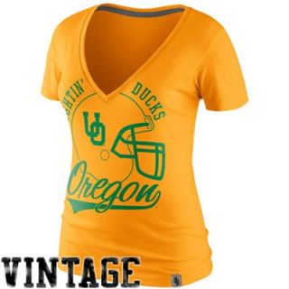 Nike Oregon Ducks Womens College Vault Helmet Deep V Neck T Shirt