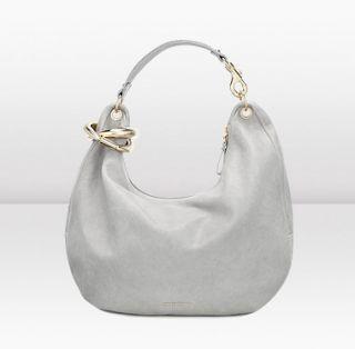 Jimmy Choo  Solar L  Pearl Grey Grainy Calf Leather On Shoulder Bag