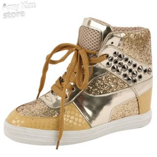 Woman stud platform sneakers sequin sparkle glitter shoe high top