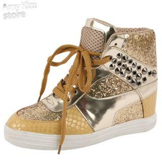 Woman stud platform sneakers sequin sparkle glitter shoe high top