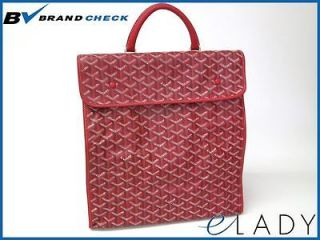 Auth GOYARD SAINT LUCY TOTE BAG CANVAS/LEATHER RED (BF035602)