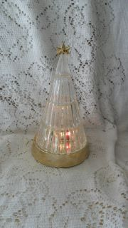 1992 AVON SILENT NIGHT LIGHT UP CRYSTAL CHRISTMAS TREE IN THE BOX