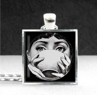 Art Pendant Silver Plate Necklace Lina Sips from Mug Cup Bowl