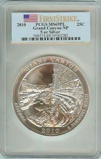 2010 5oz Silver ATB Grand Canyon PCGS MS69PL First Strike America the