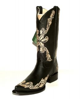 Ver Q17 K Black Chihuahua Western Boots w/ Grasso Flowered Embroidery