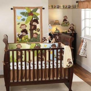 Green and Brown Tree Forest Animal 3pc Neutral Monkey Nursery Crib