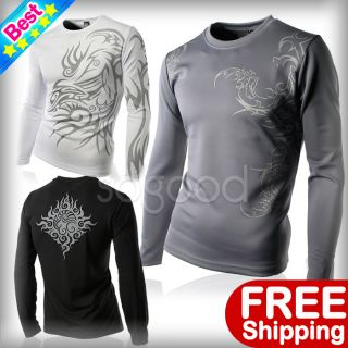 Fit Coolon Casual Tattoo sports T Shirts Long Sleeves Graphic shirts