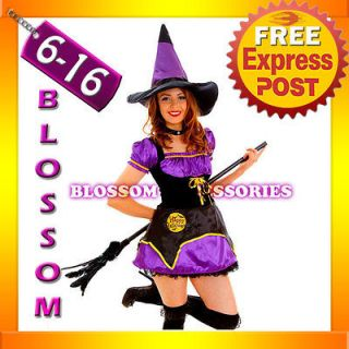 Midnight Wicked Witch Fancy Dress Scary Halloween Costume Outfit Hat