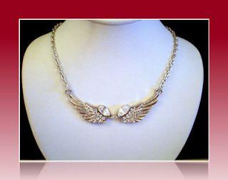 PATRIOTIC SILVER SP ANGEL FAIRY EAGLE BIKER WINGS CRYSTAL NECKLACE