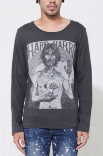 HARE HARRI george harrison beatles Mens Long Sleeve Gray Rock T shirt