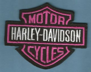 HARLEY DAVIDSON   PINK BAR & SHIELD EMBROIDERED SEW ON PATCH