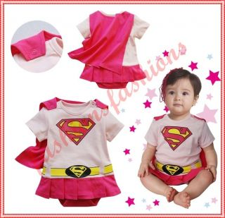 Cute Baby / Toddler Girl Super Girl Costume Pink Outfits 3 15 months