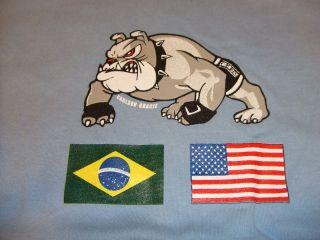 CARLSON GRACIE TEAM COMBAT ZONE LIGHT BLUE T SHIRT BJJ VALE TUDO MMA