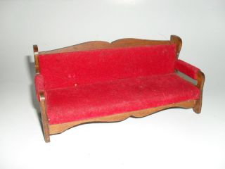 Vintage Halls Lifetime Dollhouse Mini Red Velvet Sofa