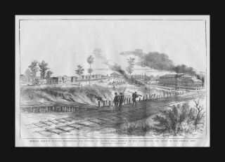 Corinth, Mississippi, Confederate Retreat, antique engraving, original